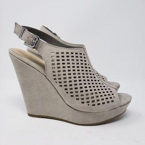 Chinese Laundry Shoes - Tan wedge platform heela. Eyelet design sz 8.5
